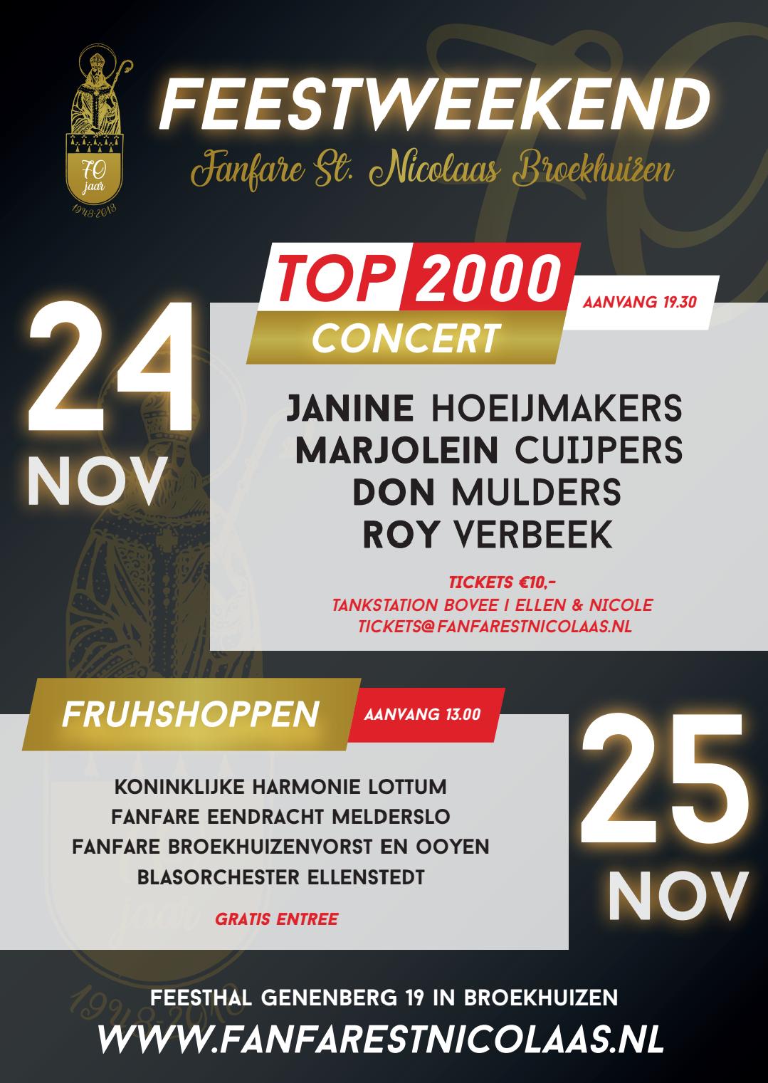 24 en 25 November Feestweekend! Kaartverkoop Top 2000 concert is gestart.