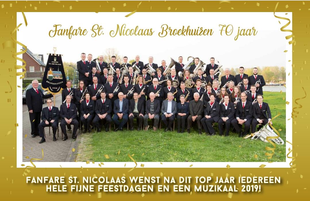 Fanfare St Nicolaas wenst iedereen hele fijne feestdagen en alle goeds voor 2019!