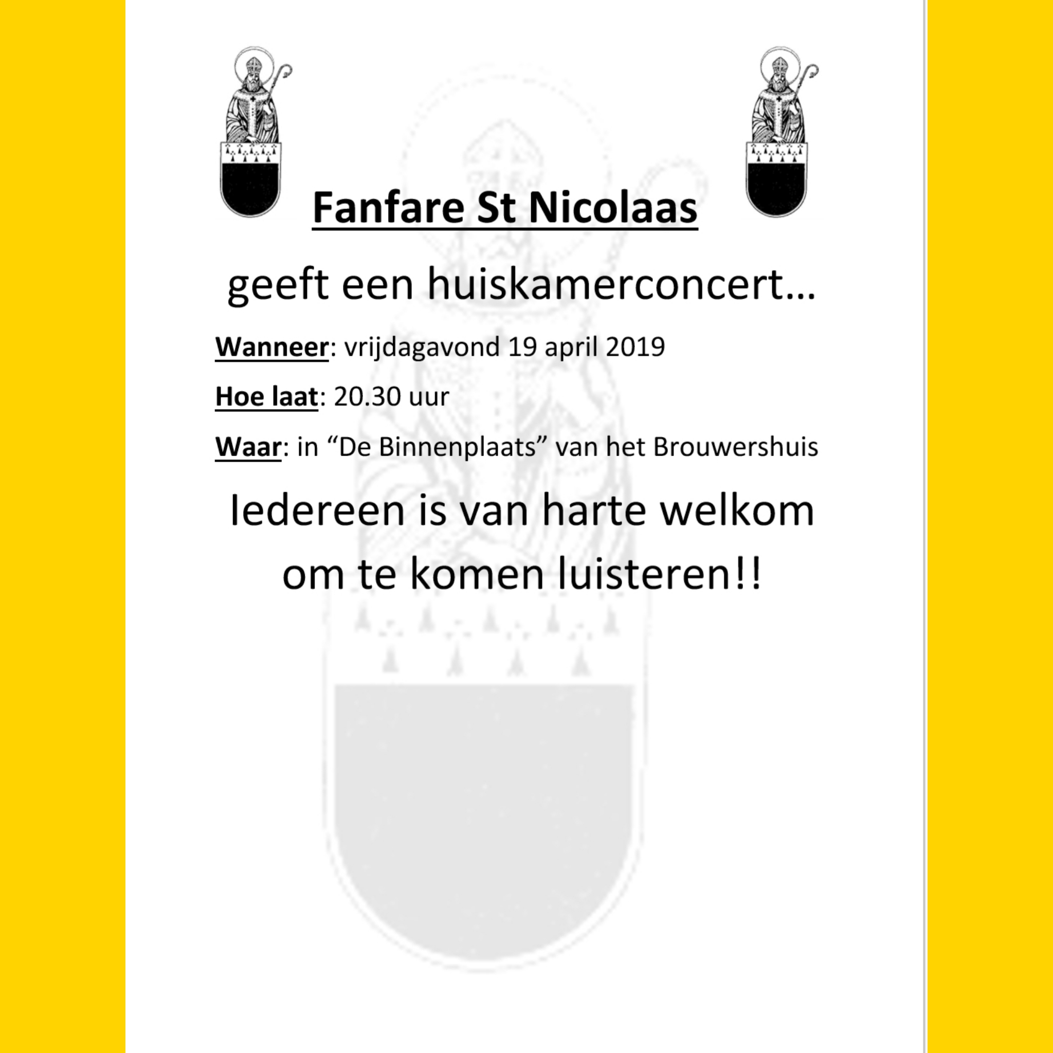 """As vrijdag 19 april Huiskamerconcert in """"De Binnenplaats"""" van het Brouwershuis"""