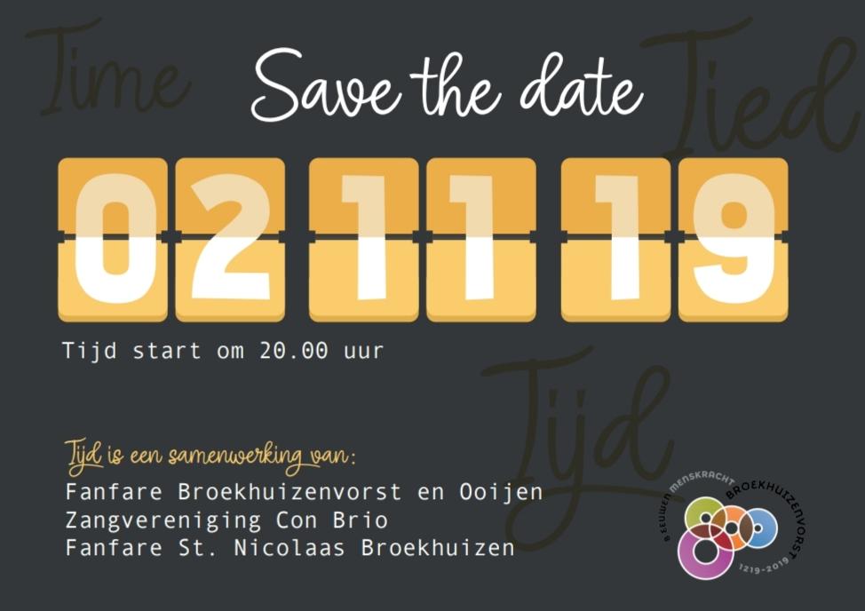 Save the date voor concert TIJD!